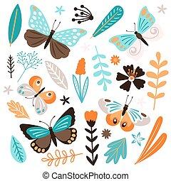 elementi, isolato, farfalle, vettore, fondo, floreale, bianco