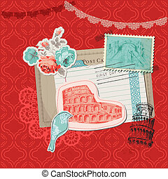 elementi, italia, vendemmia, -, francobolli, vettore, disegno, album, scheda