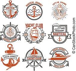 elementi, la, club, yacht, labels., progetto serie, nautical., logotipo