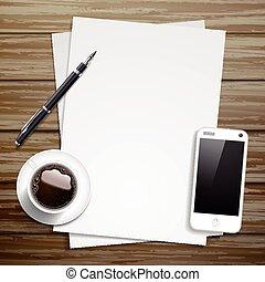 elementi, lavorativo, cima, carta, posto, vuoto, vista