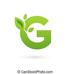elementi, lettera g, eco, foglie, disegno, sagoma, logotipo, icona