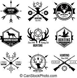 elementi, logotipo, etichette, disegno, caccia, tesserati magnetici