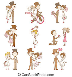 elementi, matrimonio, -, vettore, disegno, album, invito, doodles