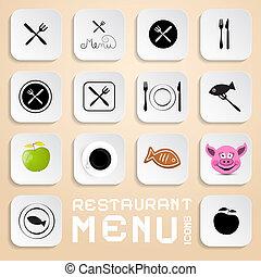 elementi, menu ristorante, icone, -, vettore, disegno