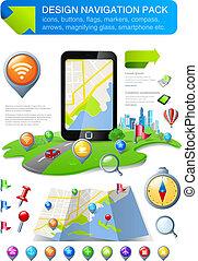 &, elementi, navigazione, kit, icone