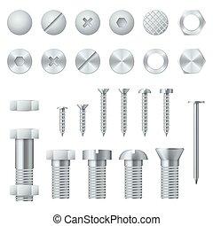 elementi, noci, unghia, bulloni, realistico, vettore, disegno, viti, chiodi