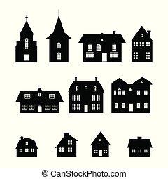elementi, panorama., case, isolato, icons., fondo., silhouette, nero, villaggio, cityscape, natale bianco