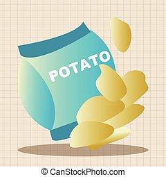 elementi, patata, cibi, digiuno, tema, patatine fritte
