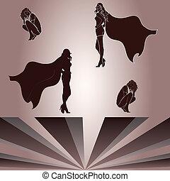 elementi, per, accoccolato, donna, e, superheroine's, uggia