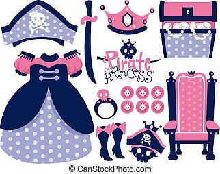 elementi, pirata, illustrazione, principessa