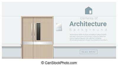 elementi, porte, corridoio, ospedale, 1, architettura, fondo