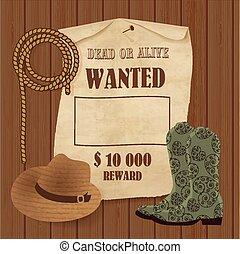 elementi, poster., cowboy, ovest, set., fondo, selvatico, tuo, design.