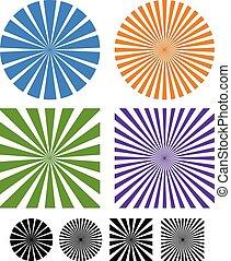 elementi, radiale, raggi, raggi