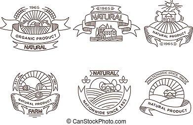 elementi, retro, fresco, etichette, fattoria, disegno, tesserati magnetici