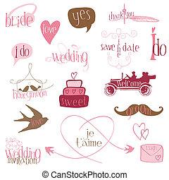 elementi, romantico, invito, -for, vettore, disegno, matrimonio, album
