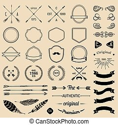 elementi, sagoma, nastri, constructor., creator., logotipo, laurels, emblema, penne, iicon, badges., vendemmia, frecce, hipster