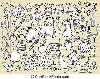elementi, scarabocchiare, set, vettore, disegno