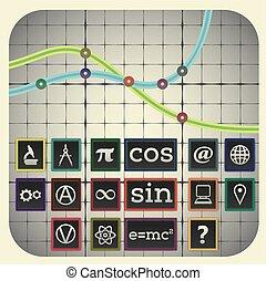 elementi, scientifico, grafico, simboli, infographic, includere, fondo, sedici