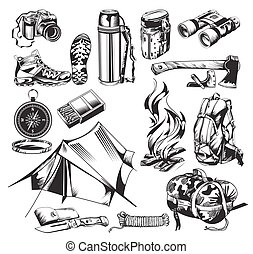 elementi, set, campeggio