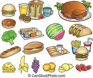 elementi, set, cibo, bevanda, vettore, pasto