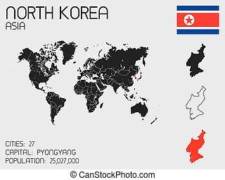 elementi, set, corea, paese, infographic, nord