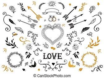 elementi, set., decorativo, matrimonio, floreale, lettering., disegno, vendemmia, mano, disegnato