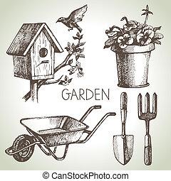 elementi, set., giardinaggio, schizzo, disegno, mano, disegnato