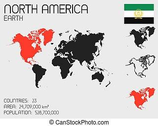 elementi, set, paese, infographic, nord america
