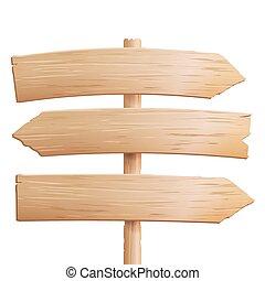 elementi, signboards, legno, materiale, isolato, cartone animato, legno, fondo, bianco, style., vuoto, vector.