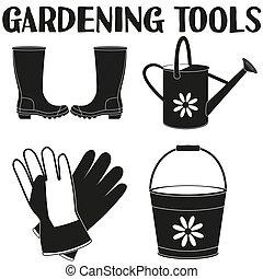 elementi, silhouette, giardino, set., irrigazione, 4