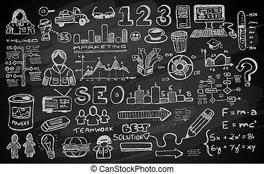 elementi, sociale, isolato, set, media, infographics, schizzo, doodles