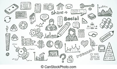 elementi, sociale, set, media, infographics, schizzo, doodles