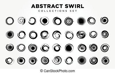 elementi, spirale, progetto serie, rotazione, movimento