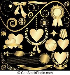 elementi, (vector), set, dorato, disegno