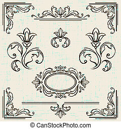 elementi, vendemmia, calligraphic, decorazione, frames., disegno, pagina