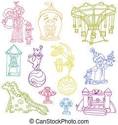 elementi, vendemmia, circo, -, mano, vettore, disegnato, doodles, set: