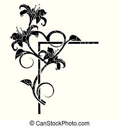 elementi, vendemmia, isolato, fondo, floreale, bianco
