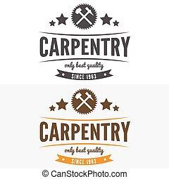 elementi, vendemmia, logotype, woodworkers, etichetta, segheria, distintivo, o, logotipo, carpenteria