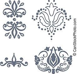 elementi, vendemmia,  set,  calligraphic, vettore, disegno