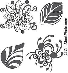 elementi, vendemmia, vettore, disegno, fondo, floreale, bianco
