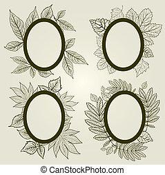elementi, vettore, disegno, mette foglie