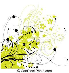 elemento, abstratos, fundo, floral