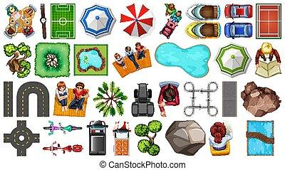 elemento, aereo, casa, isolato, decorazioni, set
