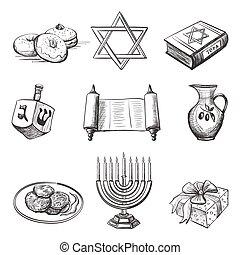 elemento, conjunto, ilustración, hanukkah