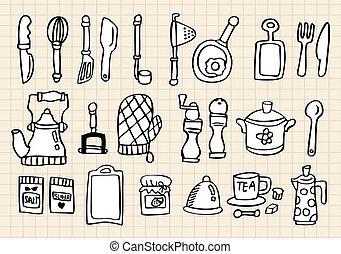 elemento, cucina, mano, disegnare