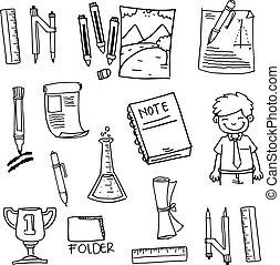 elemento, escuela, educación, doodles