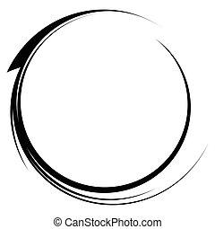 elemento, monocromo, dinámico, círculo, línea, swoosh, ...