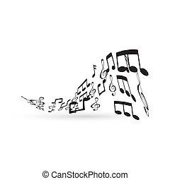 elemento, notas, desenho, música