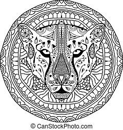 elemento, para, su, design., nacional, étnico, patrón circular, con, la cabeza, de, un, cheetah., colorido, página