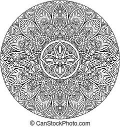 elemento, patrón, motivo, diseño, arte, mandala, ornamento